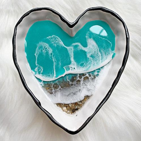 Seafoam Heart Ring Dish