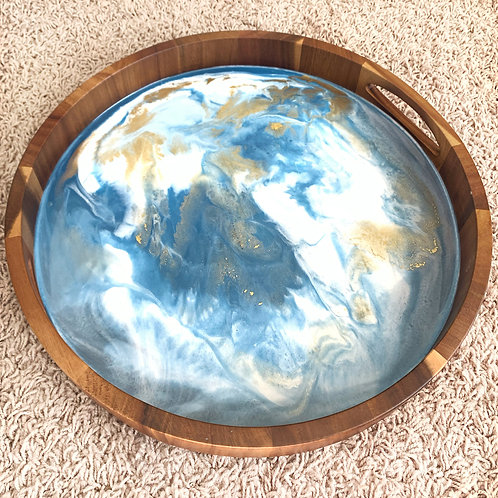 Blue/White/Gold Coffee Table Tray
