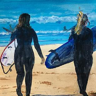 Brton  Surfing at Polzeath. Medium= acrylic.jpg