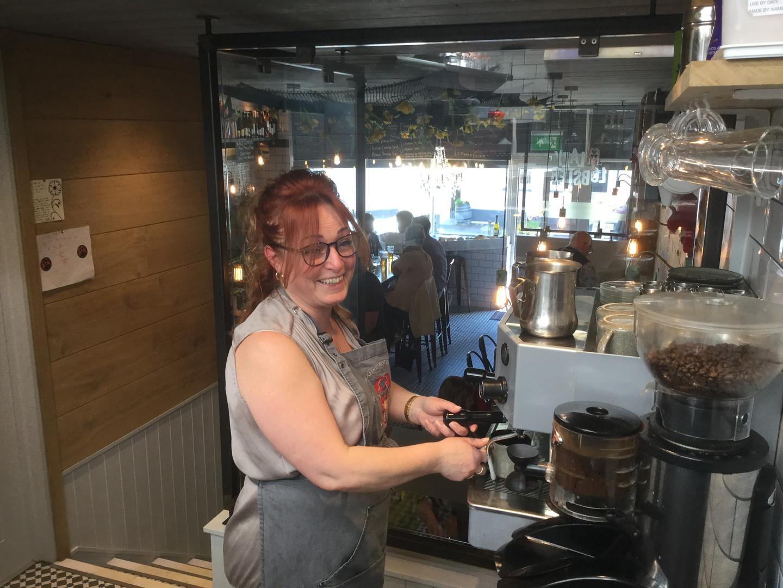 Donna and the coffee machine.JPG