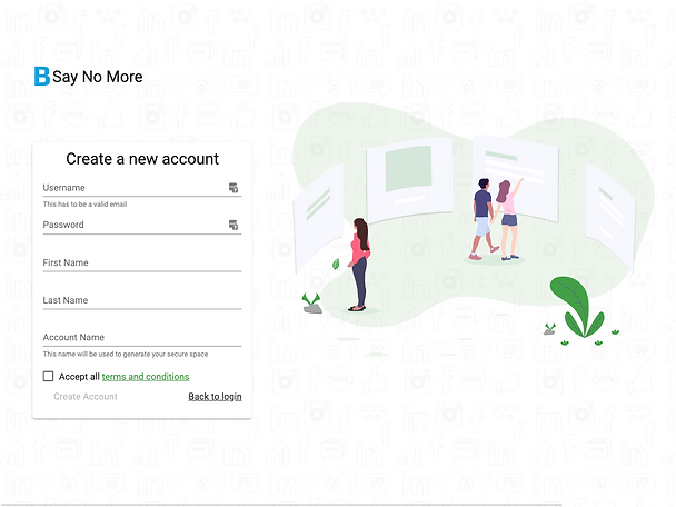 saynomore create account screen