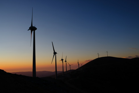 Wind Mills In The unset