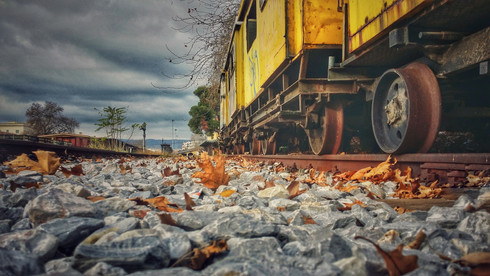 Old Yellow Train On The Rails
