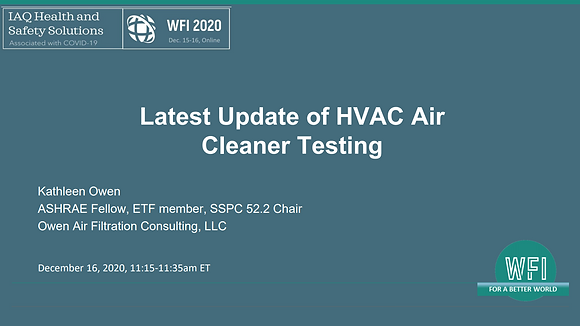 4.1 Latest Update of HVAC Air Cleaner Testing