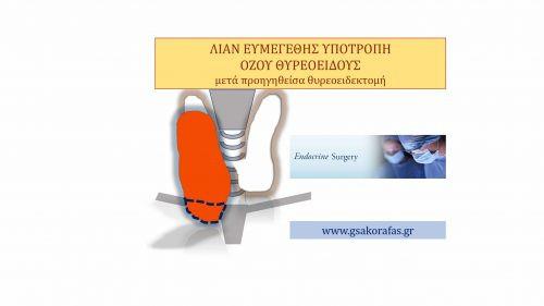Όζος θυρεοειδούς-Λίαν ευμεγέθης υποτροπή μετά αναφερόμενη ολική θυρεοειδεκτομή (?)-η αξία της πραγματικά ολικής θυρεοειδεκτομής