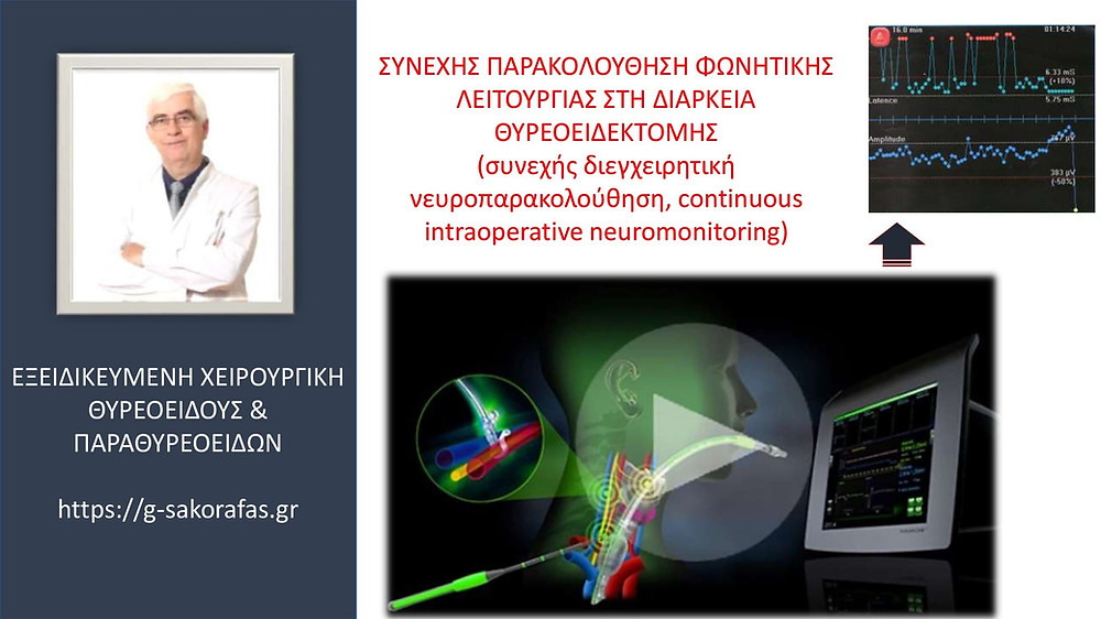 Θυρεοειδεκτομή – συνεχής παρακολούθηση φωνητικής λειτουργίας κατά τη διάρκεια της επέμβασης