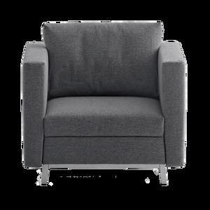 FOX ist ein kubischer Verwandlungskünstler, der quer ein komfortables Bett für eine Personen bietet. Durch seine klare Form eignet er sich auch hervorragend im Warte- und Foyerbereich.  FRANZ FERTIG ist mit diesem Schlafsessel eine durchdachte Lösung gelungen.