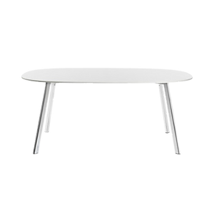 Der filigrane Tisch DEJAVÜ von MAGIS besticht durch seine unschlagbare Leichtigkeit . DEJAVÜ ist in rund, oval oder als ausziehbarer, rechteckiger Tisch lieferbar. Die Tischplatte des runden und ovalen Tisches besteht aus Weiss lackiertem MDF, der Ausziehtisch aus HPL. Die Fussbeine sind immer aus poliertem Profilaluminium.
