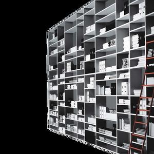 Raumteilersystem nach Maß. Die doppelseitigen Kompositionen sind auf Raumhöhe lieferbar. INTERPARETE ist in verschiedenen Lackierungen erhältlich, wahlweise auch mit geschlossenen Elementen und Glastüren.