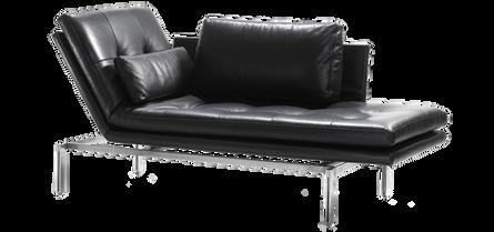 Bei dem Modell FIDU handelt es sich um eine filigrane Liege, wobei die Seitenteile der Sitzfläche wahlweise links oder rechts hochgestellt werden können. Die Sitz- bzw. Liegefläche besteht aus einem mehrschichtig aufgebauten Polyätherschaum. Gegen Aufpreis sind an den losen Rückenkissen steckbare Kopfstützen anzubringen. Die Rohrkonstruktion des Gestells ist Schwarz pulverbeschichtet, optional auch verchromt erhältlich.