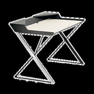 Der Schreibtisch QWERTY von CATTELAN mit Struktur aus lackiertem Stahl ist in matt Weiß oder Graphite erhältlich. Die Profile sind aus Edelstahl, die Platte aus MDF, ebenfalls in Weiß oder Graphite.