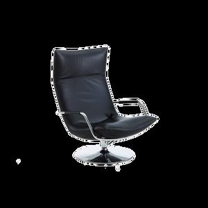 Der puristische Sessel GERARD von BRÜHL lädt zum Verweilen ein. Die elegante Form wird durch geschwungene Armlehnen und einen drehbaren Chromtellerfuß betont. Verschiedene Bezüge ob Leder oder Textil. Als niedrige oder hohe Variante erhältlich.
