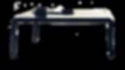 FERRO, von Piero Lissoni entworfen, besteht aus gebogenem und geschweißtem Blech, leuchtend in Weiß oder Schwarz lackiert. Fließende Übergänge von der Platte zum Fuß. Er ist auch für den Außenbereich geeignet.