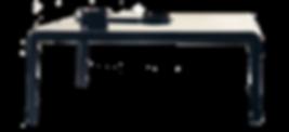 FERRO, von Piero Lissoni entworfen, besteht aus gebogenem und geschweißtem Blech, leuchtend in Weiß oder Schwarz lackiert. Fließende Übergänge von der Platte zum Fuß. Er ist auchfür den Außenbereich geeignet.