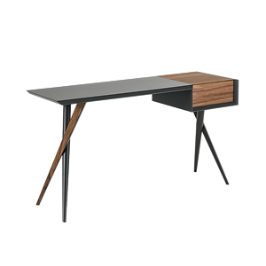 Dieser formschöne Schreibtisch BATIK von CATTELAN, designed bei Andrea Lucatello, ist in vielen verschiedenen Materialkombinationen erhältlich wie beispielsweise Nussbaum, Holz lackiert oder Stahl weiß o. graphit lackiert. In der seitlichen Box befindet sich ein großer Stauraum für Arbeitsmaterial o. Schminke.