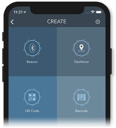 The create PinPoint screen showing the create beacon, geofence, QR code and barcode buttons.