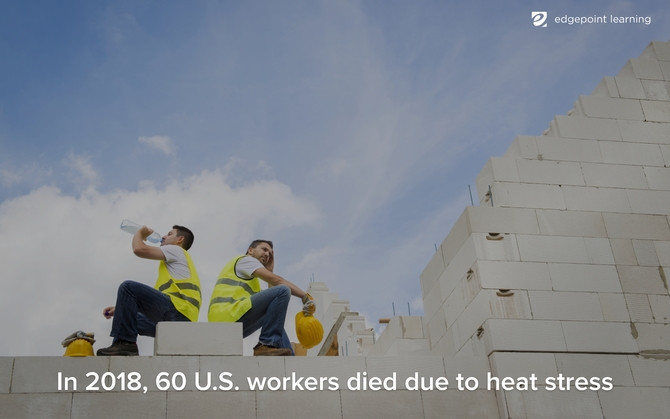 """Construction workers drinking water with the caption """"In 2018, 60 U.S. workers died due to heat stress."""