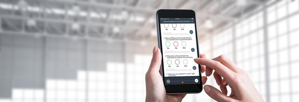 A user completing a mobile checklist in the PinPoint app.
