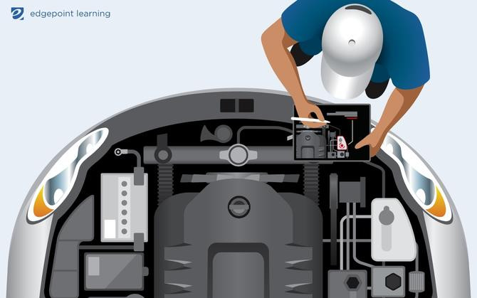 An auto technician using augmented reality on their mobile device to troubleshoot.