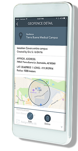 The PinPoint app displaying a geofence set to trigger on site support.