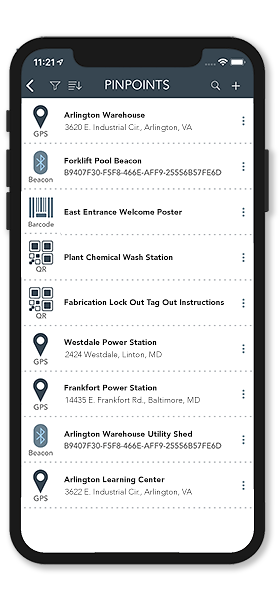 The PinPoint management screen showing a list of geofences, beacons, barcodes and QR codes.