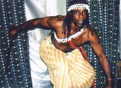 Felix Insua performs in Elegbara stage production.
