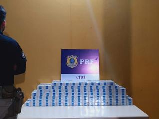 Em Nova Mamoré/RO, na madrugada desta terça-feira, PRF apreende 1000 maços de cigarro contrabandeado
