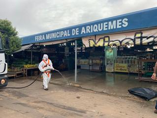 Prefeitura de Ariquemes e concessionária de água reforçam ações de desinfecção em espaços públicos