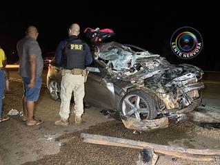 Carro fica destruído e família ferida em grave acidente na BR-364 próximo à Unir – VEJA O VÍDEO