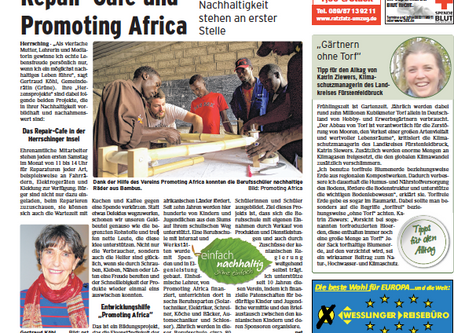 Presseartikel, Parsberg Echo - Repair-Café und Promoting Africa.