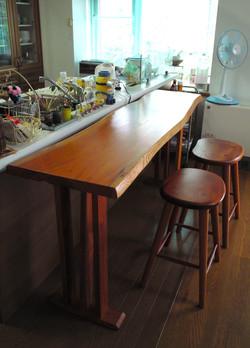 ケヤキのカウンター、high stool