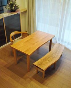 タモのテーブル&栗ベンチ