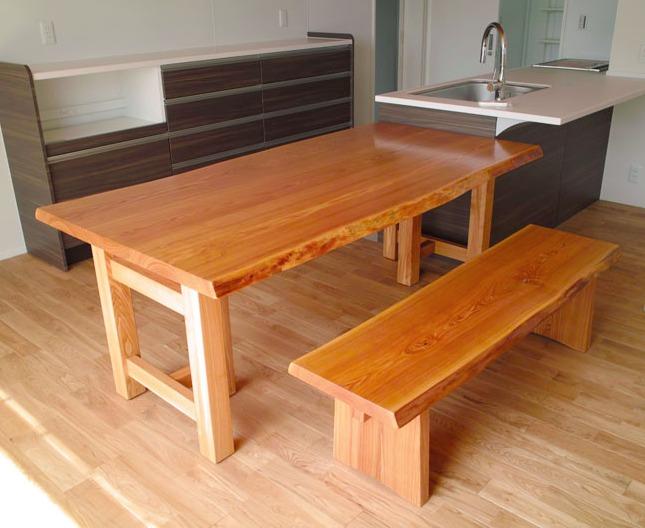 タモのテーブル&ベンチ