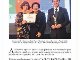 Eletroeste Tecnologia e Automação recebe Premio Mérito Empresarial do Rio Grande do Sul/ 2014