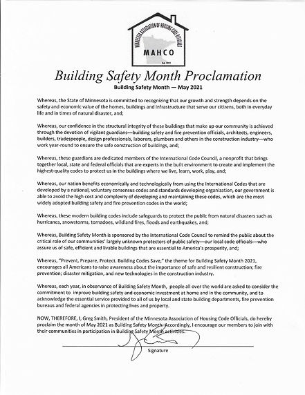 2021 Building Safety Month Proclamation.