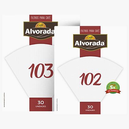 Filtro Alvorada 102, reutilizável 5x, - Filtro para Café. 30unid