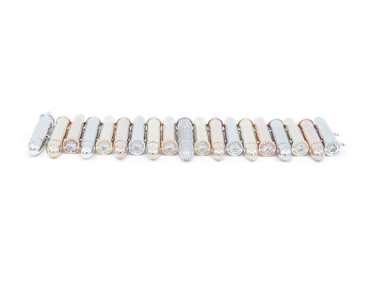 Elektra Single Pavé CZ Cap Bracelet - Tri Color