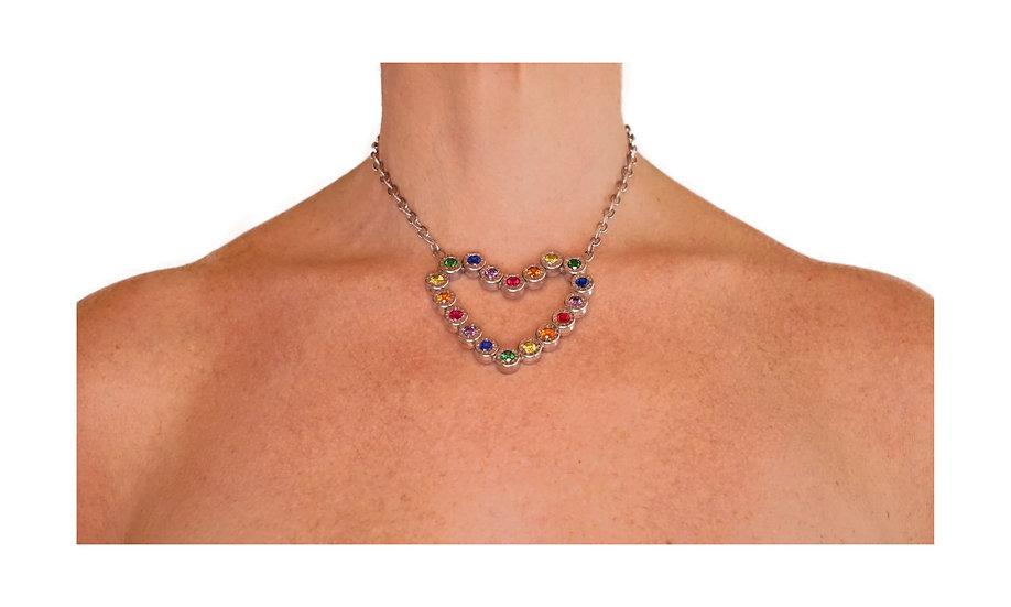 Aguila Heart Rainbow Necklace