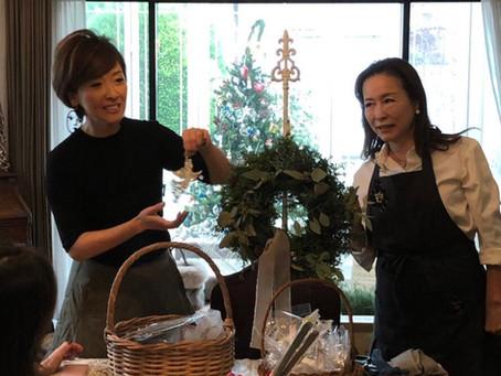 ナンシーズクッキングサロンにてエバーグリーンリース&クリスマスのテーブルコーディネートレッスンの開催レポート