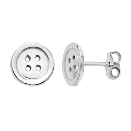 Sterling Silver Four Hole Button Stud Earrings
