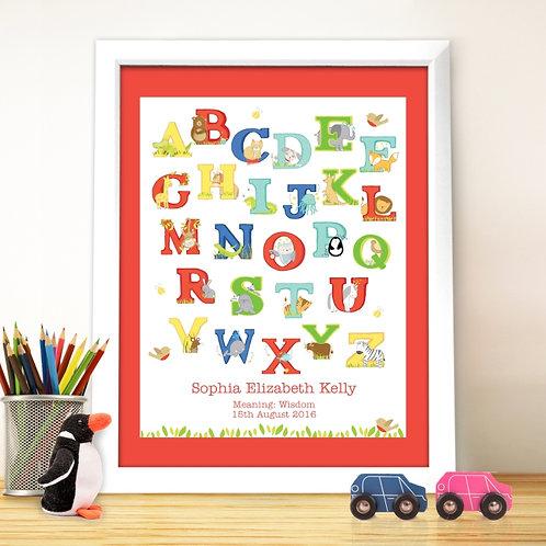 Personalised Animal Alphabet White Framed Poster Print