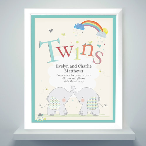 Personalised Hessian Elephant Twins White Framed Poster Print