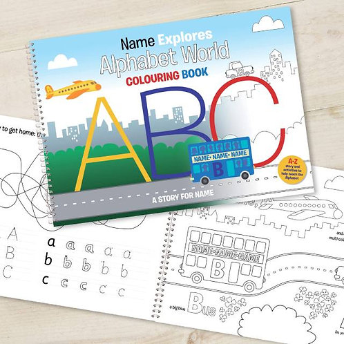 Alphabet World Personalised Colouring Book A4