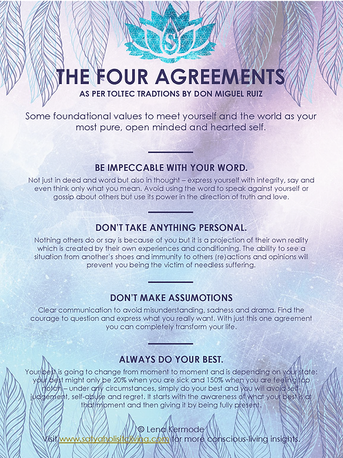 Four Agreements to Your Highest Self Cheat Sheet