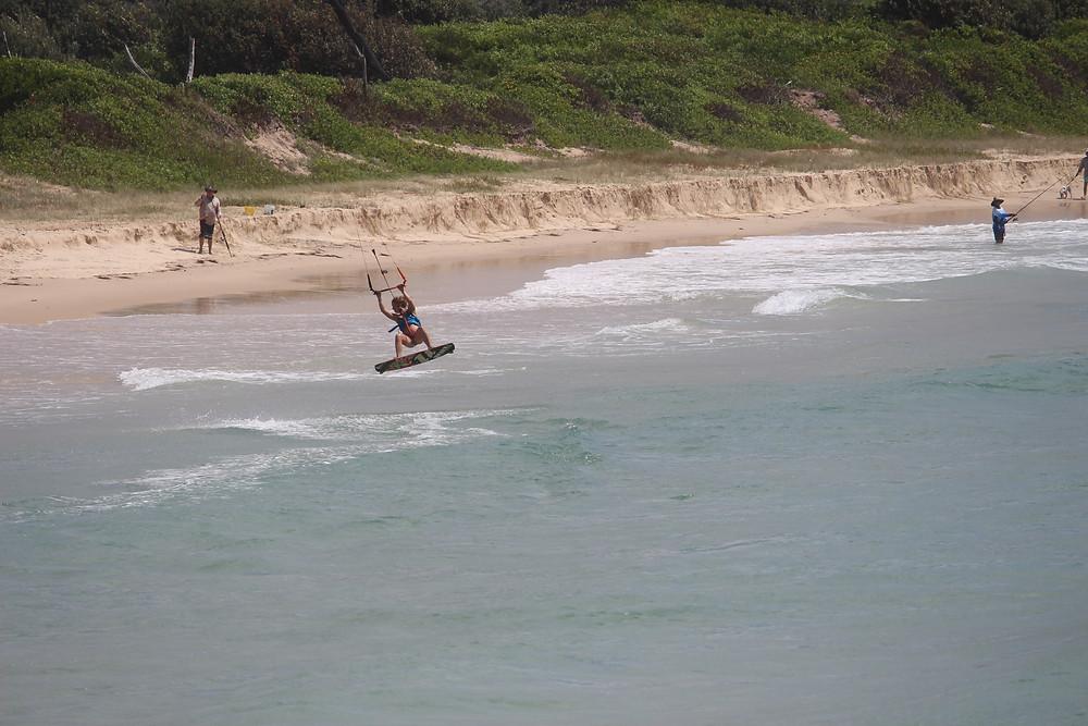 kitesurfing in Crescent Heads, NSW