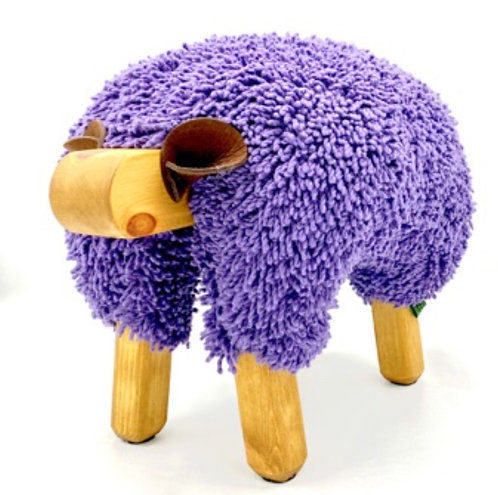 Ultra Violet / Oak Sheep Footstool