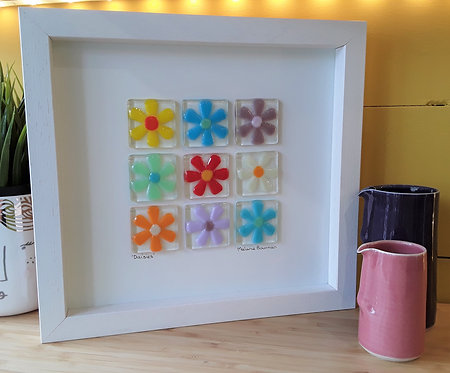 Fused Glass Picture  -Daisies