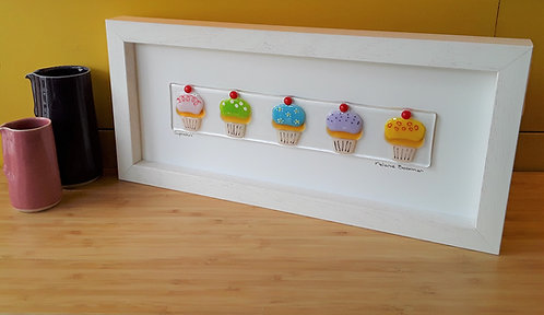 Fused Glass Picture  - Cupcakes