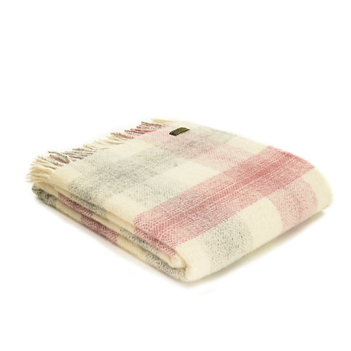 Meadow Dusky Pink Check Throw