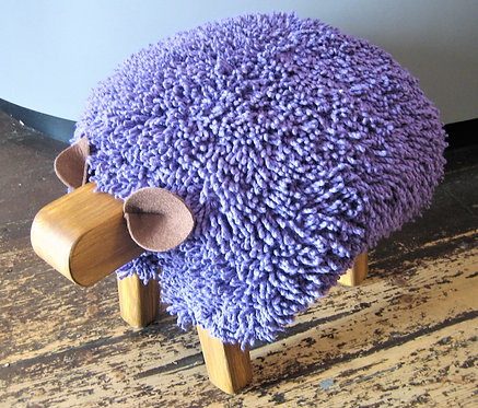 Ultra Violet / Oak Sheep Footstool